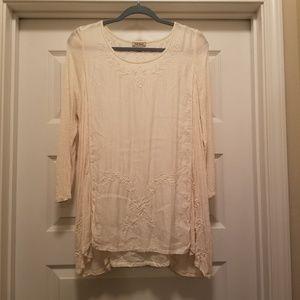 Lucky Brand 3/4 Sleeve Boho Embroidery Tunic Top
